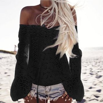 Summer Autumn Fashion Off Shoulder Women BLouse Long Sleeve Lace Loose Tops Puff Sleeve Black Shirt High Quality Party Blusas