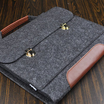 "Leather laptop bag for Asus 15.6 inch, Felt and leather laptop sleeve, laptop cover case 15.6"", leather Briefcase case, 15 inch laptop bag."