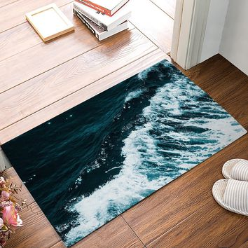 Autumn Fall welcome door mat doormat Ocean Theme Blue Sea Waves s Kitchen Floor Bath Entrance Rug Mat Absorbent Indoor Bathroom Rubber Non Slip AT_76_7