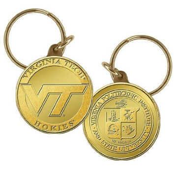 Virginia Tech Bronze Coin Keychain