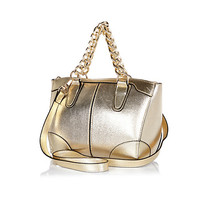 River Island Womens Gold metallic chain handle mini bowler bag