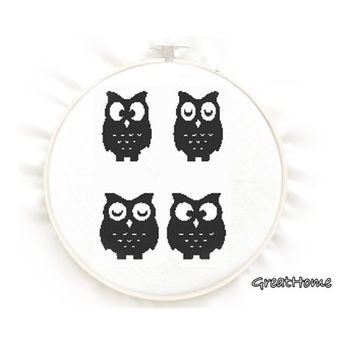 4 Owls Easy Counted Cross Stitch Pattern, No.80, Instructions