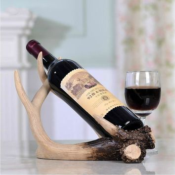 Deer Antlers Red Wine Rack Creative Wine Rack Home Crafts Decor Living Room Entrance Cabinet Party Decoration (Size: 21cm by 28c