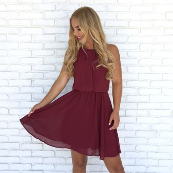 Right Beside Me Dress in Wine