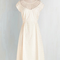 Vintage Inspired Long Cap Sleeves A-line Tea's Company Dress by Bettie Page from ModCloth
