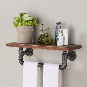 "Armen Living 24"" Jarrett Industrial Walnut Wood Floating Wall Shelf in Silver Finish"