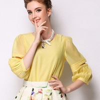 Yellow Slit Sleeve Organza Blouse