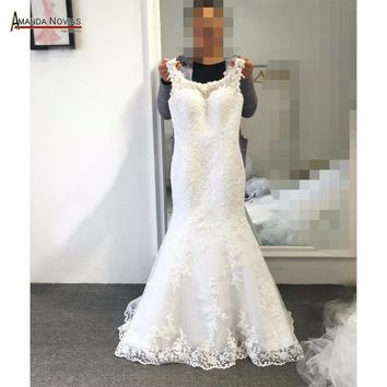 New Arrival Design Lace Mermaid Wedding Dress Cap Sleeve Sweep train backless wedding gown
