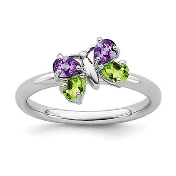 Sterling Silver Stackable Expressions Peridot and Amethyst Butterfly Ring