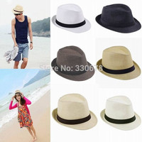 Fashion Women men unisex Braid Fedora Trilby Gangster Summer Beach Sun Hat sun Straw Panama Hat Couples Lovers Hats Caps = 1929705540