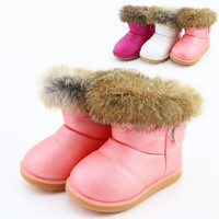 Real Rabbit Fur Pu Leather Children's Boots fleece Shoes Winter Baby Kids Children Snow Boots Colorful Girl Warm Shoes 2014 New Arrival
