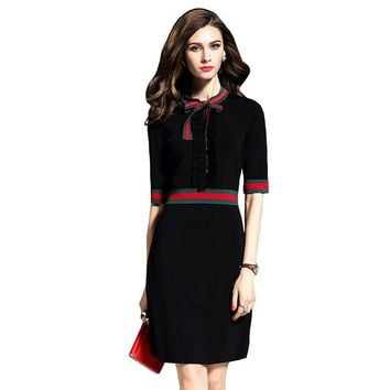 Women Sexy Black Casual Slim Half Sleeve Vintage Knitted Sweater Dress With Bowtie Collar Pencil Midi Work Wear Office Dress