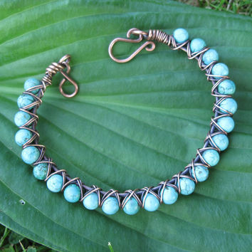 Turquoise stone beaded bracelet - copper wire bangle