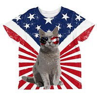 4th Of July Meowica America Patriot Cat All Over Toddler T Shirt
