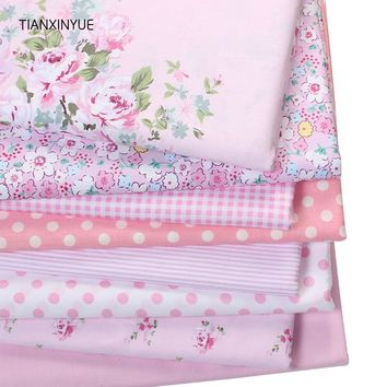 TIANXINYUE Pink Victoria set flower Printed cotton fabric for quilting patchwork tecido tela clothing bedding tissus