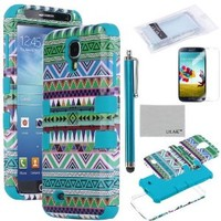 ULAK 3-Piece Hybrid High Impact Tribal Case Silicone for Samsung Galaxy S4 IV i9500 with Screen Protector and Stylus(cleaning cloth with ULAK Logo) (Green + Blue)