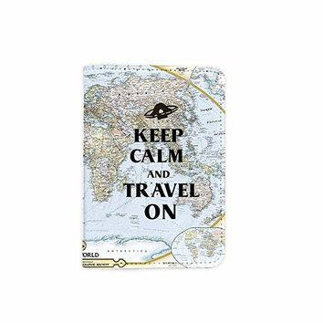 Keep Calm And Travel On World Map Customized Cute Leather Passport Holder - Passport Covers - Passport Wallet_SUPERTRAMPshop
