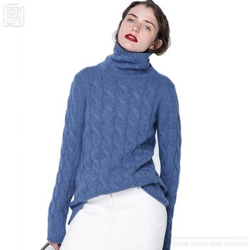 2017 Starting Women Wool Cashmere Turtleneck Allover Cable Knit Pullover Sweaters Thick Flexible Twist Soft Relaxed Fitting Hot