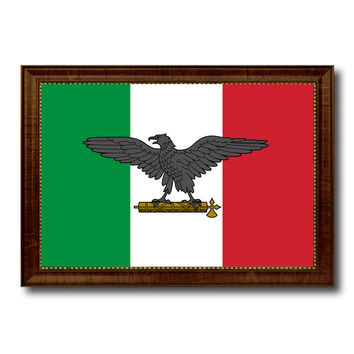 Italy War Eagle Italian Military Military Flag Canvas Print with Brown Picture Frame Home Decor Wall Art Gift Ideas