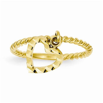 14k Yellow Gold Dangle Heart Ring