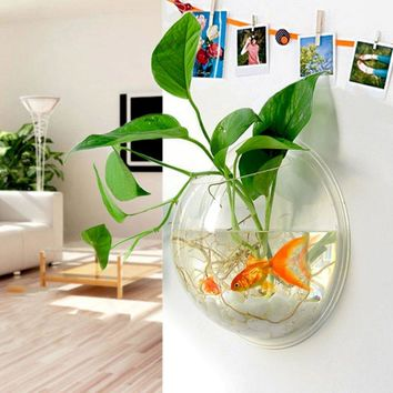 2017 New Home Decoration Pot Plant Wall Mounted Hanging Bubble Fish Bowl Acrylic Bowl Fish Tank Aquarium