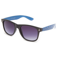 Full Tilt Ahoy Anchors Sunglasses Black/Blue One Size For Women 23129618401