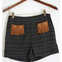 Tassel Trim Pocket Aztec Shorts