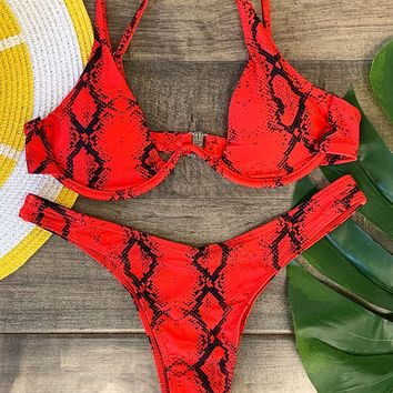 Turtle Bay Two Piece Swimsuit Red