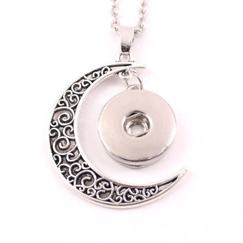 2016 18mm metal ginger snap button jewelry moon pendant Necklace for women NE380 men's Vintage accessories one direction