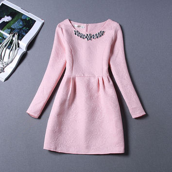 Long Sleeve Winter Hot Sale Women's Fashion One Piece Dress = 4807125764