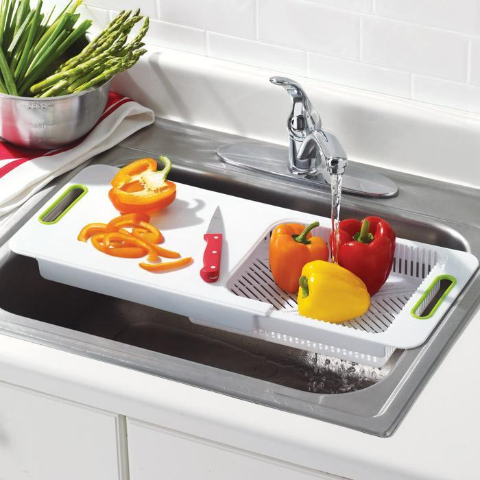 over the sink cutting board with colander from avon home. Black Bedroom Furniture Sets. Home Design Ideas