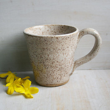 Handmade Stoneware Mug in Creamy Speckled Glaze Rustic Pottery Cup Ready to Ship Made in USA