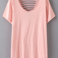 Short Sleeve Ripped Hole Back Casual T-Shirt