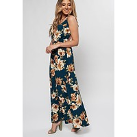 Lee Floral Maxi Dress (Teal)