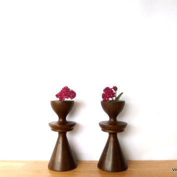 Vintage Danish Modern Wood Candlesticks Mid-Century Candle Holders Dark Wood Taper Candle Holder Wooden Candlesticks Modern Home Decor