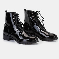 Faux Patent Leather Combat Boots | Wet Seal