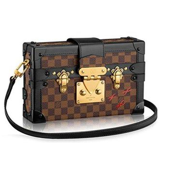 Louis Vuitton Damier Canvas Petite Malle Leather Strap Handbag