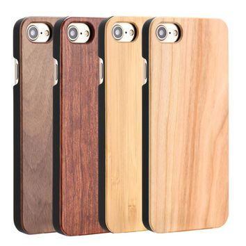 Real Wood Cases For iPhone 7 6 6S Plus 5 5S SE High Quality Durable Natural Wooden Rosewood Bamboo Walnut