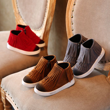 Spring Autumn child/girl/kids motorcycle boots nubuck leather martin boots boys fringe flats shoes zip solid color short boots