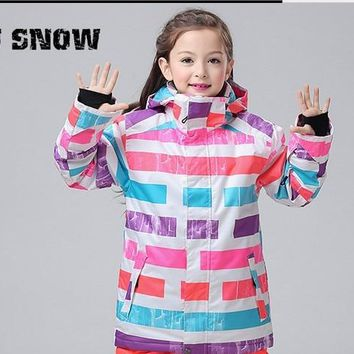2016 children rainbow ski jackets girl's riding snowboarding jackets kids skiing jackets skiwear anorak snow wear waterproof