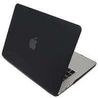 HDE MacBook Air 13 Case Solid Color Matte Plastic Slim Hard Shell Snap On Case with Keyboard Skin Fits Models A1369 / A1466 (Black)