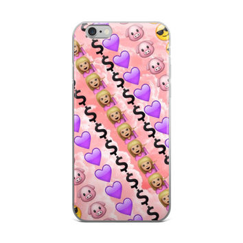 $ Dollar Sign Purple Heart Pig Girl & Cool Smiley Face With Shades On Emoji Collage Teen Cute Girly Girls Pink iPhone 4 4s 5 5s 5C 6 6s 6 Plus 6s Plus 7 & 7 Plus Case