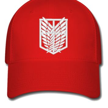 ATTACK ON TITAN white Bucket Hat - Flexfit Baseball Cap