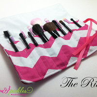 Make Up Brush Roll, Makeup Brush Holder, Travel Case, Hot Pink and White Chevron