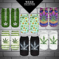 2016 New Women's Girls Casual Weed Plant Shape Socks With Print Hemp Meias Calcetiness Mujer Low Cut Ankle Socks For Women