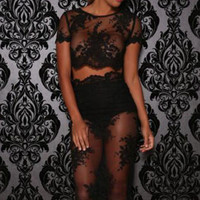 Black Embroidered Sheer Lace Crop Top Pencil Cut Skirt Set