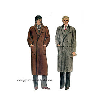 70s Men's DOUBLE BREASTED COAT Pattern Long Straight Winter Coat Evening Formal Coats Vogue 7467 Chest Size 40 UNCuT Vintage Sewing Patterns