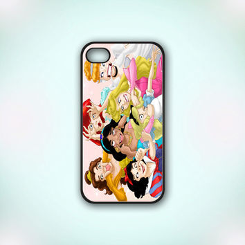 Funny All Character Disney Princess - Design Print for iPhone 4/4s Case or iPhone 5 Case - Black or White