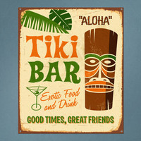 Vintage Printed Wall Sign Tiki Bar Repositionable Removable Print Fabric