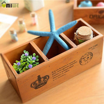 Multifunction Home Office Storage Wooded Desk Organiser Pen Jewelry Flower Pot Holder 3 Cells Retro Desktop Organizer For Home